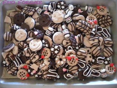 100 ciondoli in fimo nutella ringo tegolino handmade per orecchini e bracciali