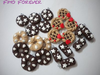 lotto 10 ciondoli fimo merenda pan di stelle bucaneve crostatina handmade