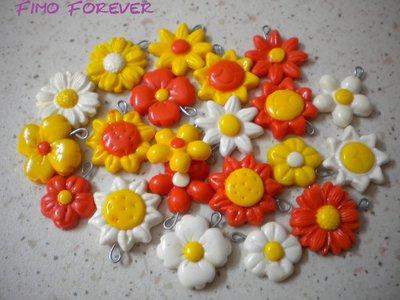 lotto 42 ciondoli in fimo fiore sole girasole vari colori handmade