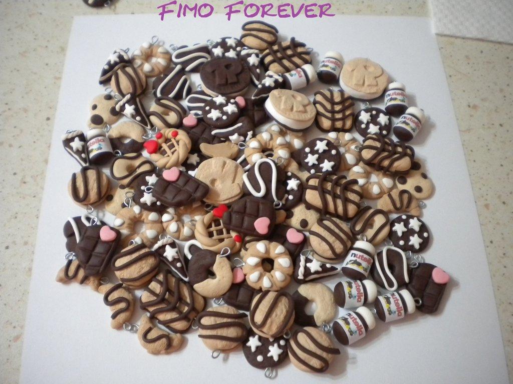 lotto 50 ciondoli in fimo nutella ringo tegolino pan di stelle per orecchini e bracciali