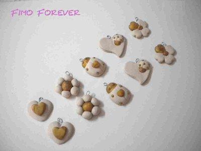lotto 10 ciondoli quadrifoglio coccinella  cuore fiore handmade charms