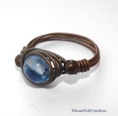 Anello wire in rame anticato e perla in vetro ceco