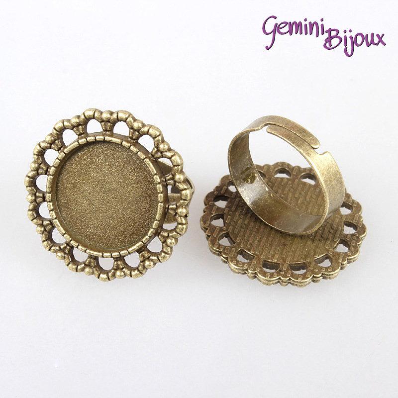 Base anello vintage bronzo tondo, per cabochon 16 mm.