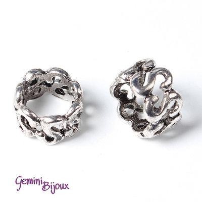 Perla tibetana in alluminio argentata a foro largo, mm 10x7. LH36