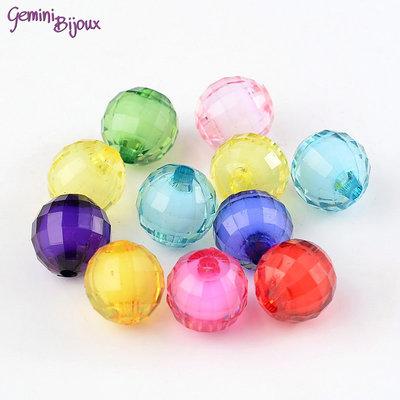"""Lotto 20 perle acrilico """"bead in bead"""", tonde sfaccettate 12 mm. colori mix"""