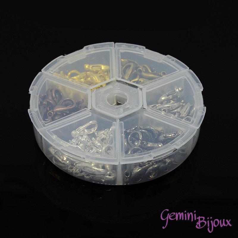 Box 120 moschettoni in 6 colori mix, mm. 12x7