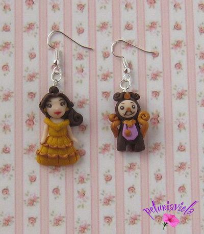 Bella e la Bestia orecchini fimo-Bella e Tockins orecchini-Principesse Gioielli-Principesse Ciondoli