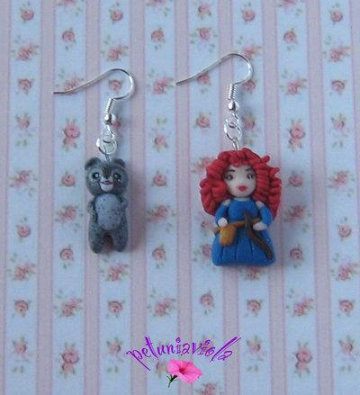 Principessa Ribelle e l'Orso Orecchini Fimo-Principesse Fimo-Principesse Gioielli