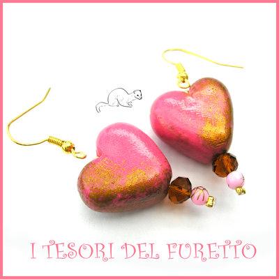 """Orecchini  """" Heart and gold """"Cuore oro rosa  San Valentino idea regalo  eleganti cristalli charm cuore"""
