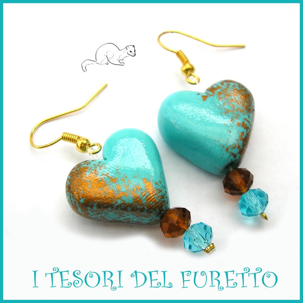 """Orecchini  """" Heart and gold """"Cuore oro turchese San Valentino idea regalo  eleganti cristalli charm cuore festa della mamma Natale"""