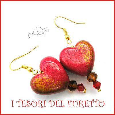 """Orecchini  """" Heart and gold """"Cuore oro rosso San Valentino idea regalo  eleganti cristalli charm cuore festa della mamma Natale"""