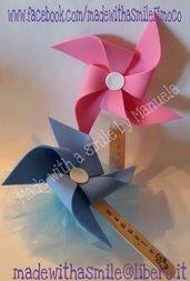 Bomboniera sacchetto confetti con girandola segnalibro nascita battesimo