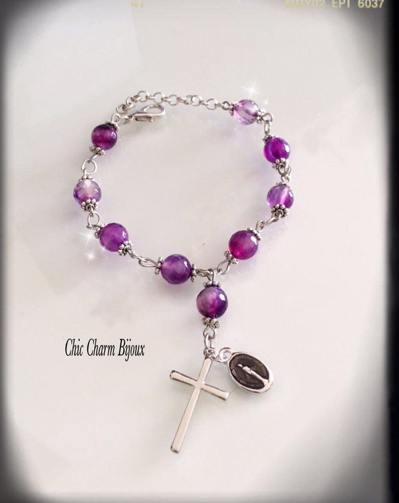 Bracciale Rosario in pietre tonde violette