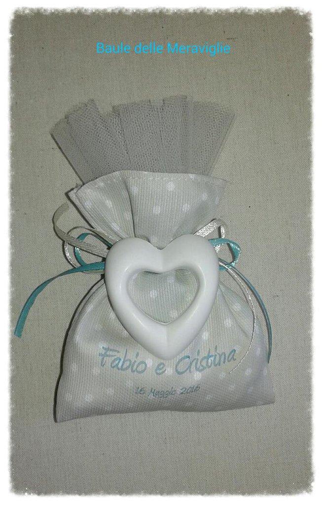 Bomboniera nozze sacchetto con gessetto e stampa personalizzata