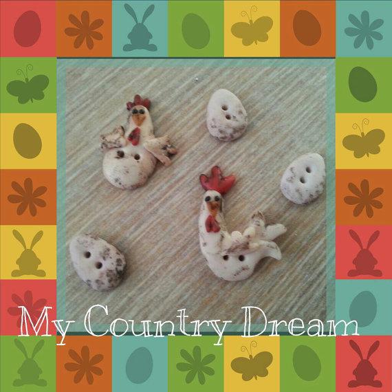 "Bottoni Artigianali ""Galline Country"""