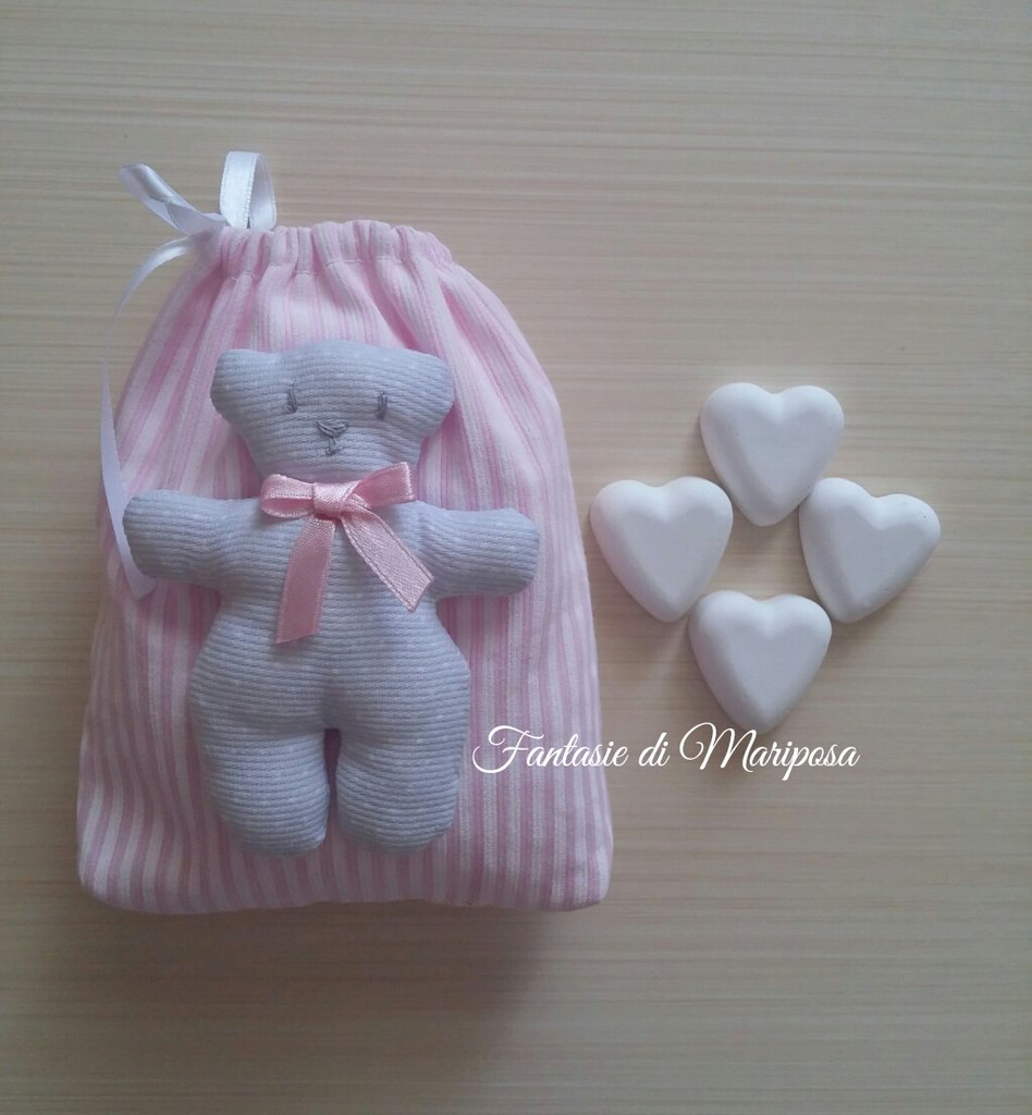 Sacchetto portaconfetti orsetto tilda - Bomboniera
