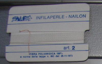 Infilaperle professionale vf bianco,filo per bigiotteria resistente per collane