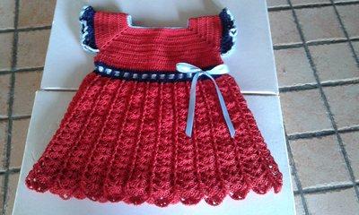 abito di cotone  neonata lavorato a mano