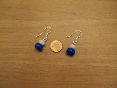 Orecchini palline blu-grigio