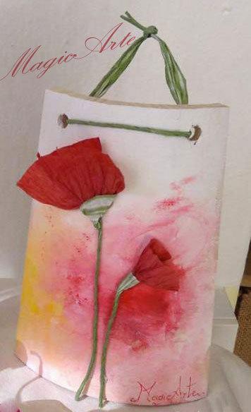 Tegole artigianali con fiori /idea regalo/bomboniere