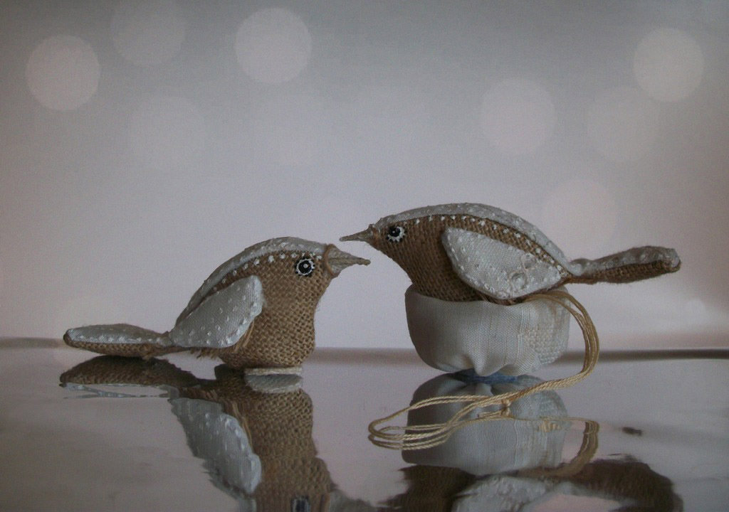 Uccelli di stoffa con nido, bomboniere battesimo,  comunione, regalo pasqua, decorazione pasqua, regalo primavera