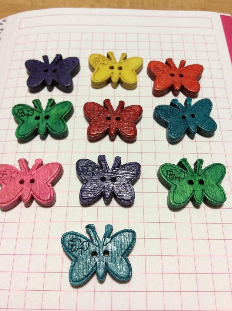 10 bottoni legno farfalle tipo 2