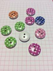 10 bottoni legno puntini colorati