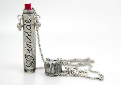Bussolotto in puro argento con messaggio segreto e catena in argento