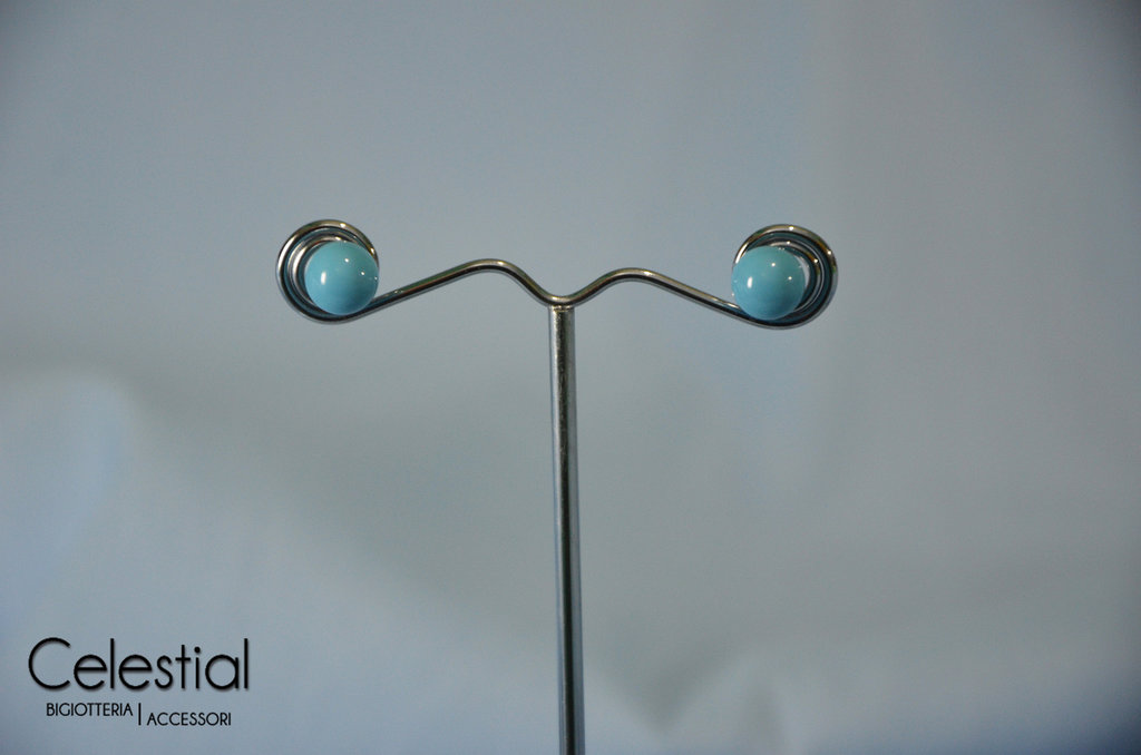 Orecchini a perno perla - Turquoise