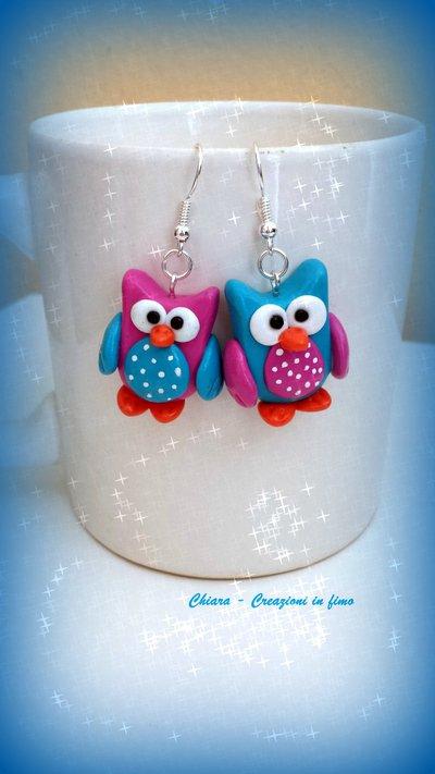 Orecchini in fimo handmade Gufi kawaii miniature idee regalo amica compleanno bomboniere