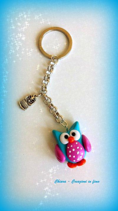 Portachiavi in fimo handmade Gufo kawaii miniature idee regalo compleanno bomboniere
