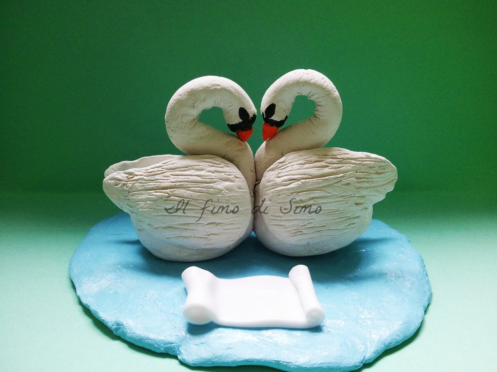 cake topper matrimonio cigni in fimo