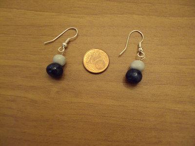 Orecchini palline blu glitterato-grigio