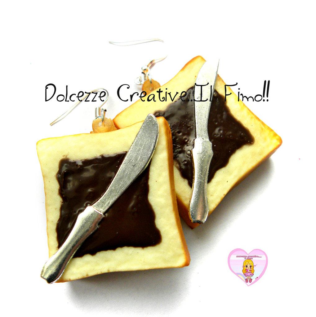 Orecchini fetta di pane con nutella - cioccolato -  con coltello SQUISHY