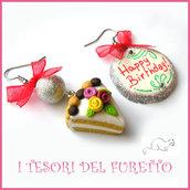 """Orecchini """"Happy birthday"""" fetta di torta buon compleanno mod. 1 Idea regalo fimo cernit premo clip ragazza bambina donna per lei"""