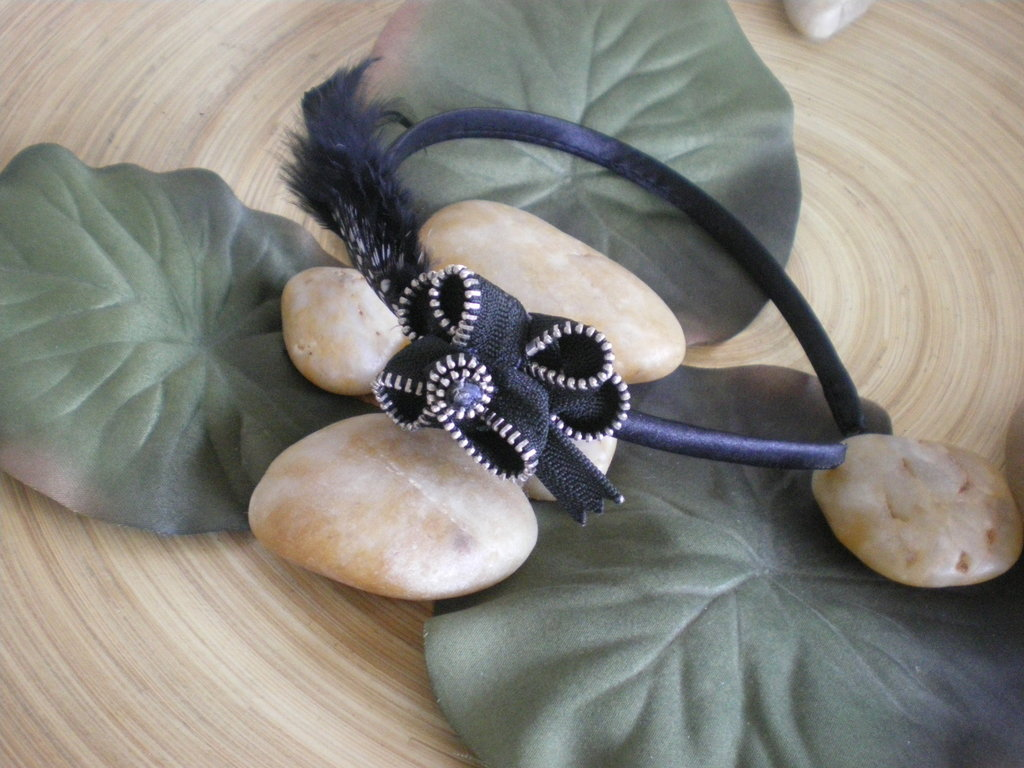 Black zipper Hairband - cerchietto