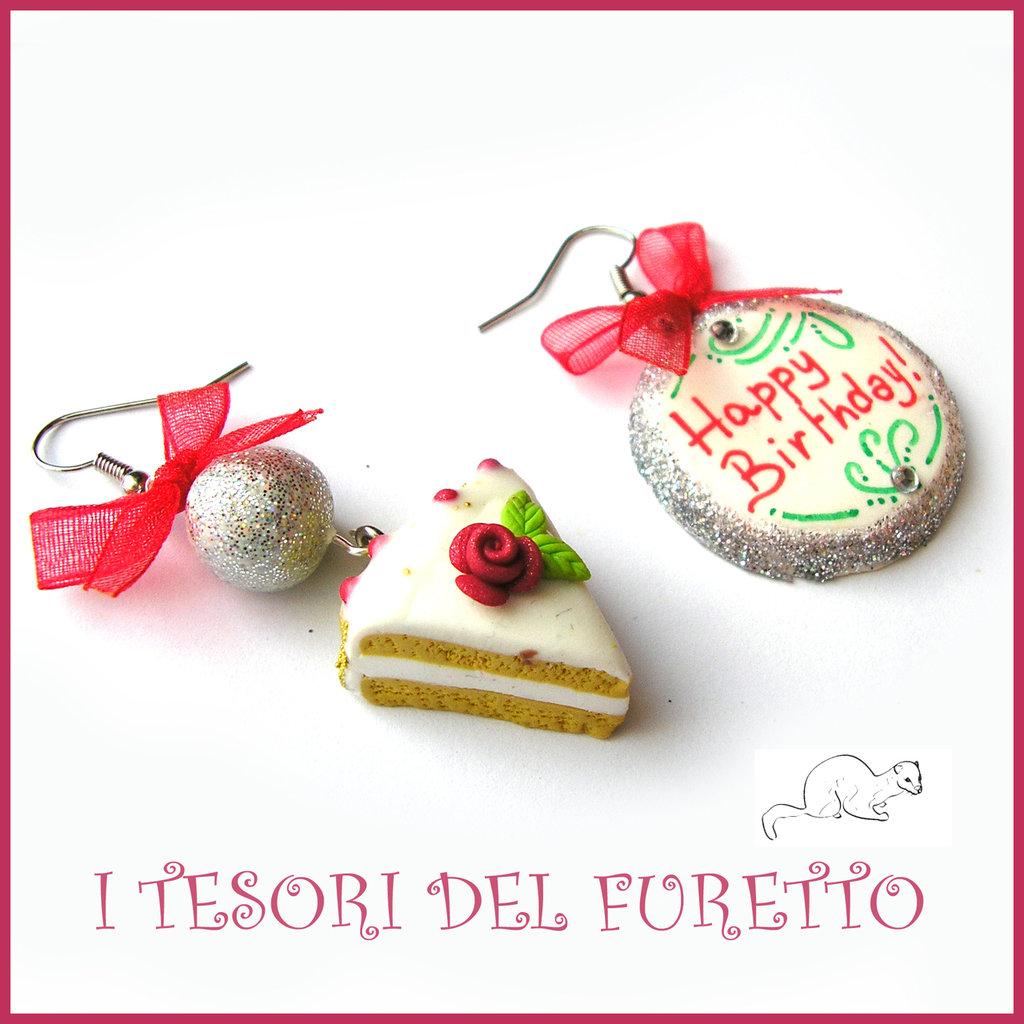"""Orecchini """"Happy birthday"""" fetta di torta buon compleanno mod. 3 Idea regalo fimo cernit premo clip ragazza bambina donna per lei"""