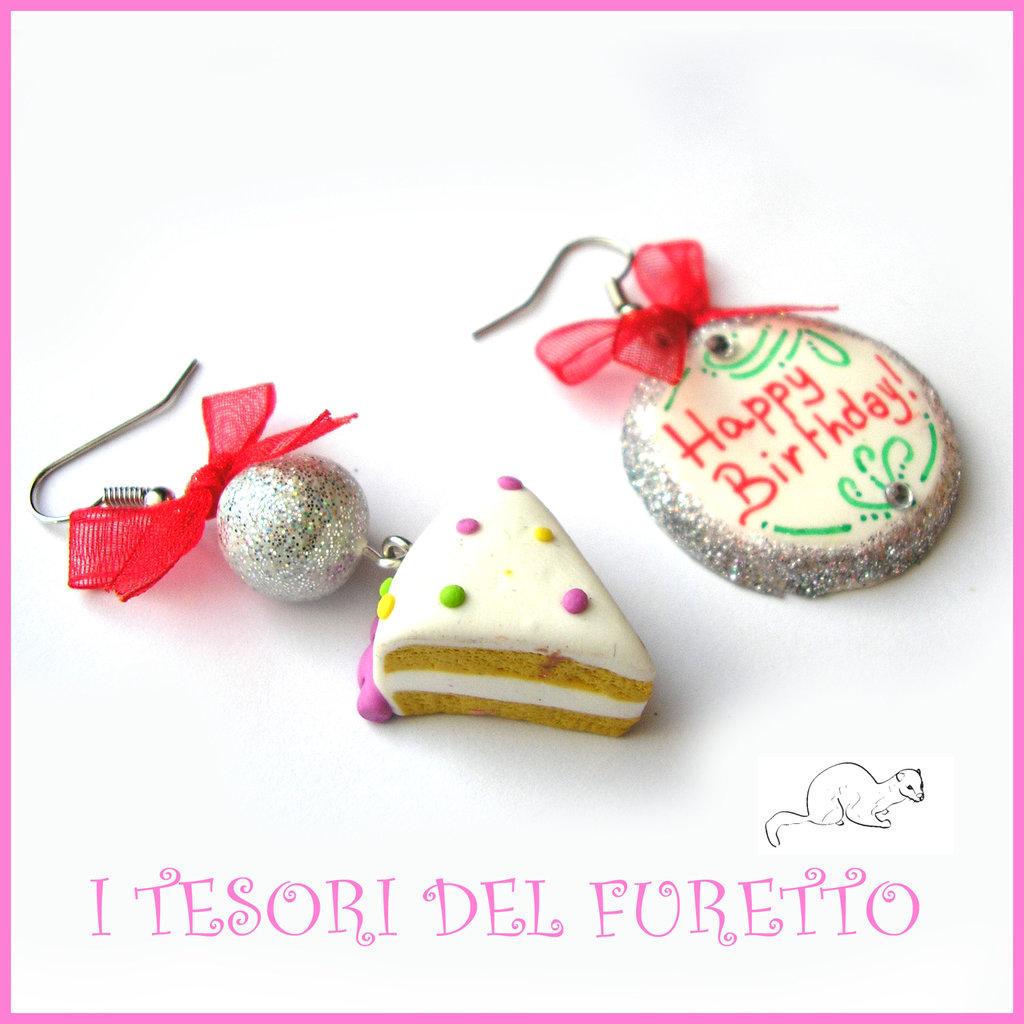 """Orecchini """"Happy birthday"""" fetta di torta buon compleanno mod. 4 Idea regalo fimo cernit premo clip ragazza bambina donna per lei"""