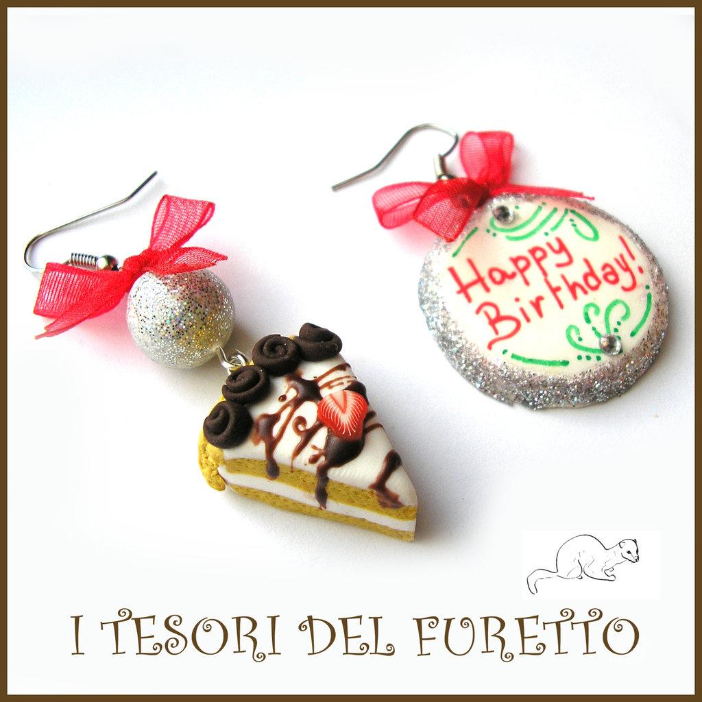 """Orecchini """"Happy birthday"""" fetta di torta buon compleanno mod. 5 Idea regalo fimo cernit premo clip ragazza bambina donna per lei"""