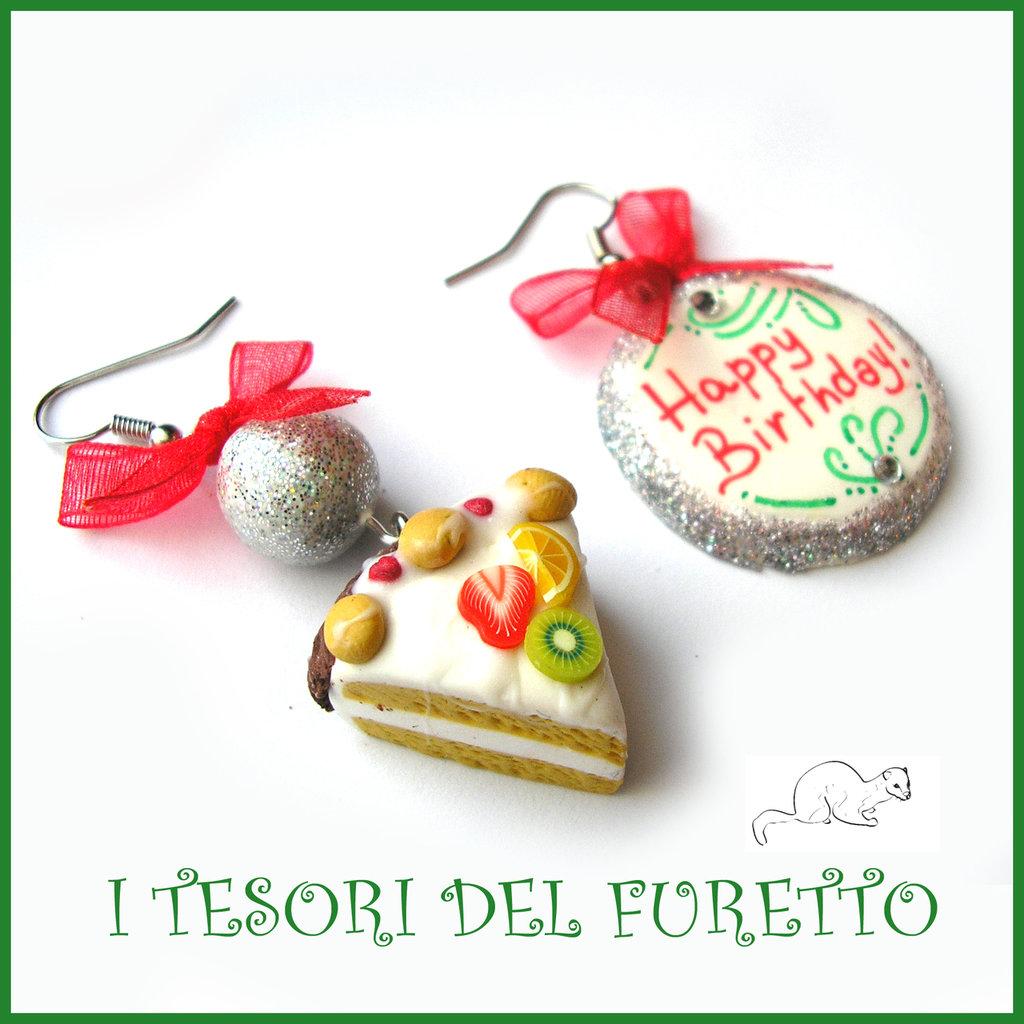 """Orecchini """"Happy birthday"""" fetta di torta buon compleanno mod. 6 Idea regalo fimo cernit premo clip ragazza bambina donna per lei"""