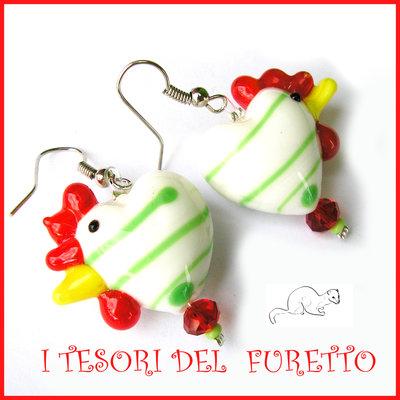"""Orecchini  Vetro """"Gallina """" bianco verde galletto   Pasqua idea regalo bambina kawaii ragazza donna clip"""