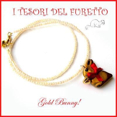 """Collana """"Gold bunny"""" coniglietto cioccolato Pasqua idea regalo fimo cernit premo kawaii donna ragazza"""