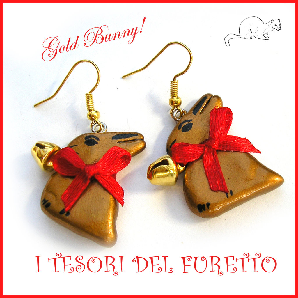 """Orecchini """"Gold bunny"""" coniglietto cioccolato Pasqua idea regalo fimo cernit premo kawaii donna ragazza"""