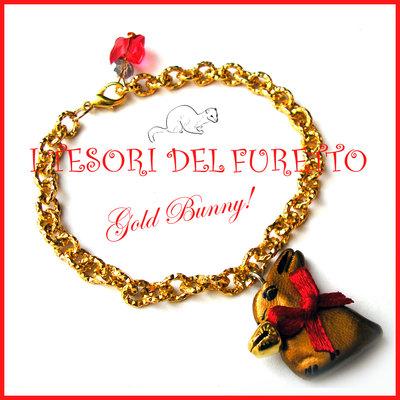 """Bracciale """"Gold bunny"""" coniglietto cioccolato Pasqua idea regalo fimo cernit premo kawaii donna ragazza"""