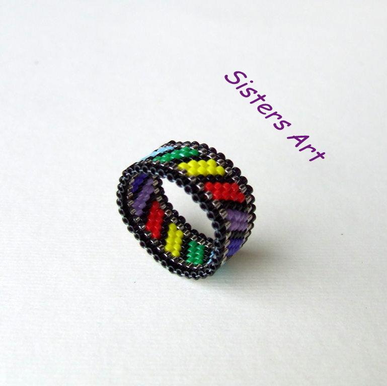 """Anello """"Colors"""" a fascia realizzato con perline Miyuki delica"""