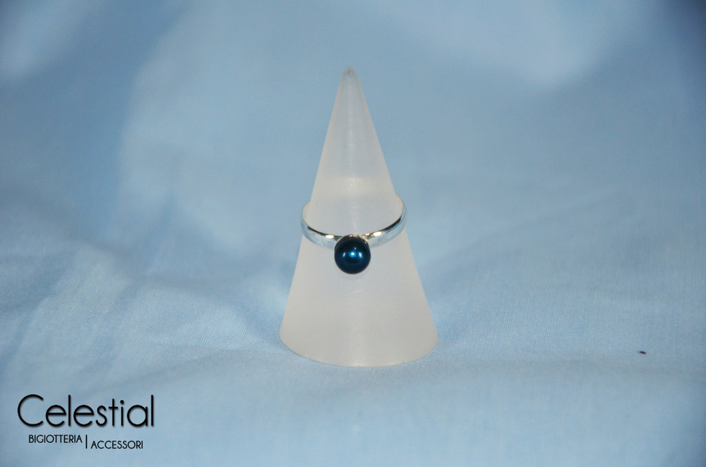 Anello perla - Petrol