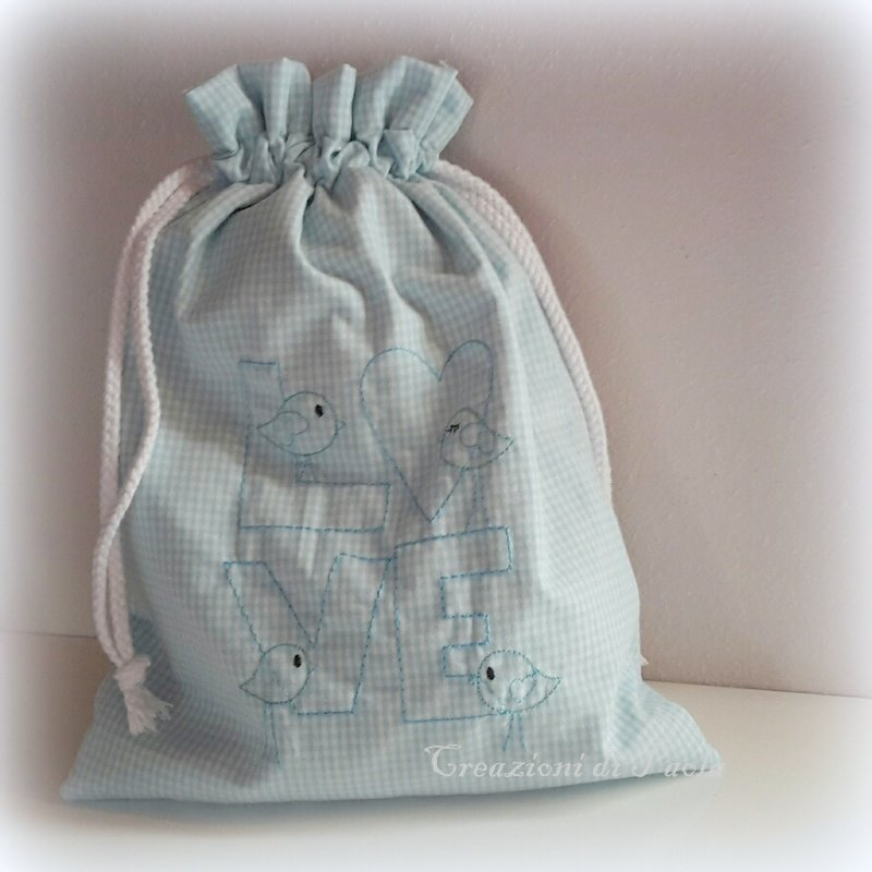 Sacchetto asilo per bimbi in cotone a quadretti azzurri