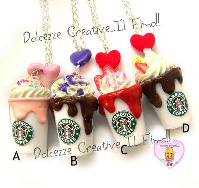 Modello A - Collana Starbucks Frullato - Miniature idea regalo handmade panna fragole, cioccolato