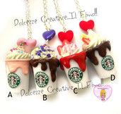 Modello D - Collana Starbucks Frullato - Miniature idea regalo handmade panna fragole, cioccolato