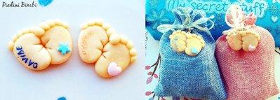 inserzione riservata 60 bomboniere piedini magneti denise rosa con scatolina e confetti